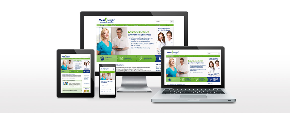 MediWeight (Corporate Design und Packaging): Responsive Webdesign