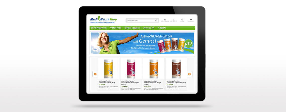 MediWeight (Corporate Design und Packaging): Webshop